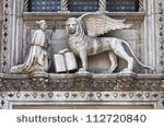 The winged lion and the doge Francesco Foscari on Doge Palace
