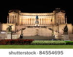 National monument of Victor Emmanuel II at night, Rome