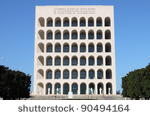 Squared Colosseum building in Rome, Italy